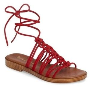 Matisse red suede lace-up sandals (never worn!)